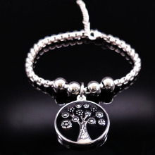 2017 Fashion Black Enamel Bracelets Women Silver Color Tree of Life Stainless Steel Bracelets Bangles Jewelry bracelet femme