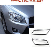 Free shipping Car body front head lamp hood Molding frame stick ABS Chrome cover trim 2pcs For Toyota RAV4 2009 2010 2011 2012(China)