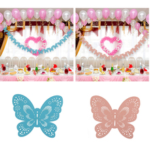Hot Sale Banner Bunting Paper Butterfly Garland Birthday Wedding Party Supplies Home Baby Shower Party Decoration Blue/Pink