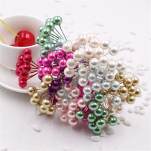 50pcs/lot Pearlescent Pearls Artificial Flowers Multi - Colored Pearl Stamens Wedding Christmas Decoration(China)