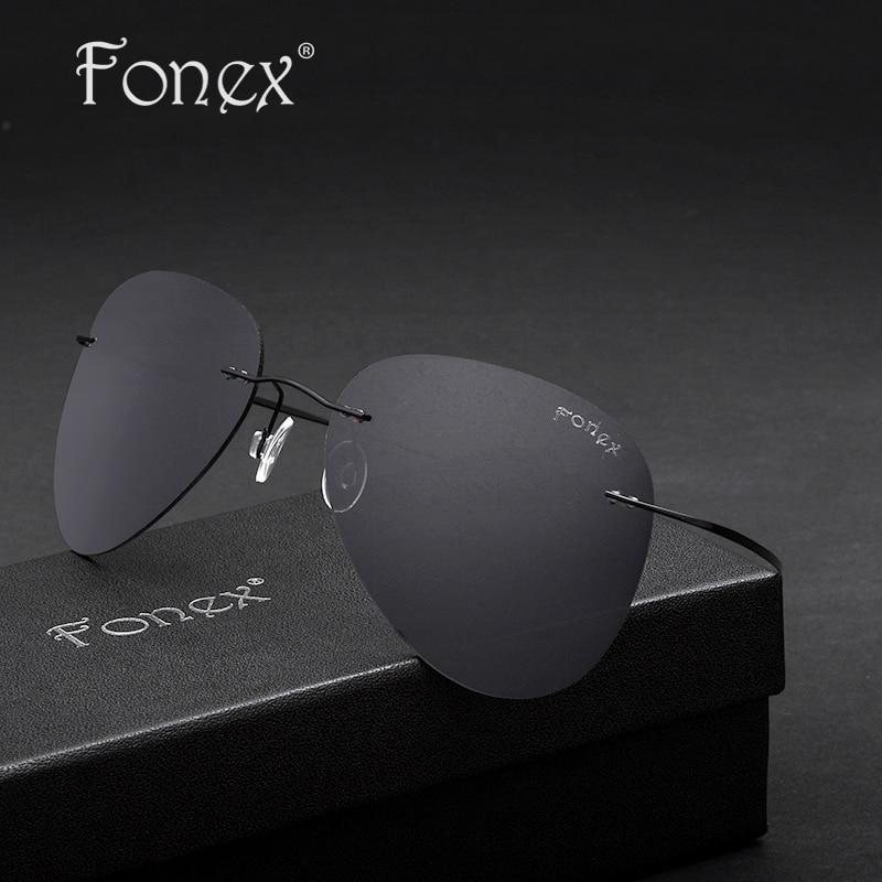 Fonex 2017 New Fashion Aviation Men Titanium Polarized Sunglasses Women Rimless Pilot Sun Glasses Shades With Original Box F8205<br><br>Aliexpress