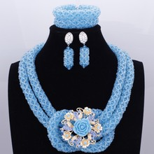 Sculpture Crystal Blue African Beads Natural Stone Jewelry Set Nigeria Bridal Wedding Jewellery 2017 Fashion New Design