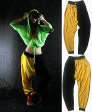 New Fashion Women Female Hip hop Harem Pants Buttons Patchwork Jazz DS Stage Performance Competition Dance Sprots Trousers