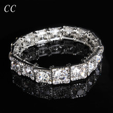Square big stone cubic zirconia  bangles bracelets for bridals wedding party jewelry women's fashion jewelry CCHE016