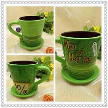 Alice In Wonderland Mad Hatter Cute Green Hat Ceramic Coffee Mug Cup Birthday Gift(China)