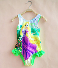2017 Retail Rapunzel Swimsuit One Piece Girls 3-12y Kids Swimwear Clothes Girls Rapunzel Clothing Summer Beachwear Fashion YF02