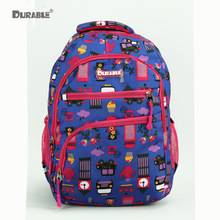 DURABLE Character Car Bird Tree Crown Cake Cartoon Pattern Cute Boy Purple Backpack Daily Travel Bag Cheap Price Colorful Super