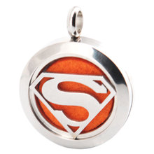 Silver Super Man 25mm Aromatherapy Essential Oils Stainless Steel Neckalce Pendant Perfume Diffuser Locket free 10pcs Felt Pads