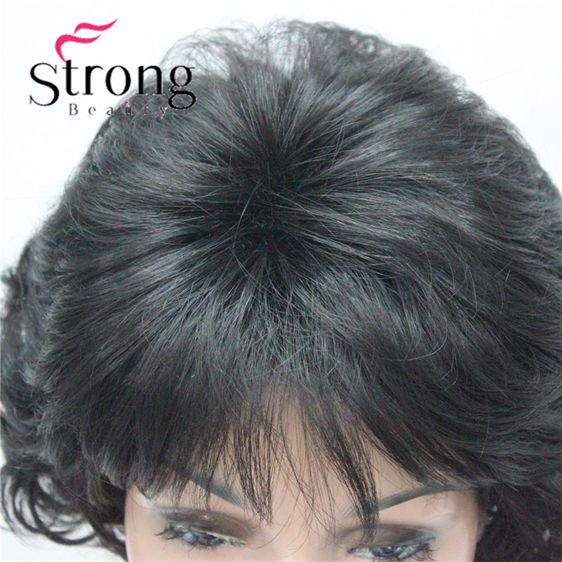 E-7125 #2New Wavy Curly Off Black Wig Short Synthetic Hair Full Women's Wigs For Everyday (5)
