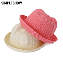 Lovely Straw Caps Kids Cute Cat Ear Decoration Character Baby Casual Summer Cap Children Sun Hat For Girls/Boys Solid Beach Hats