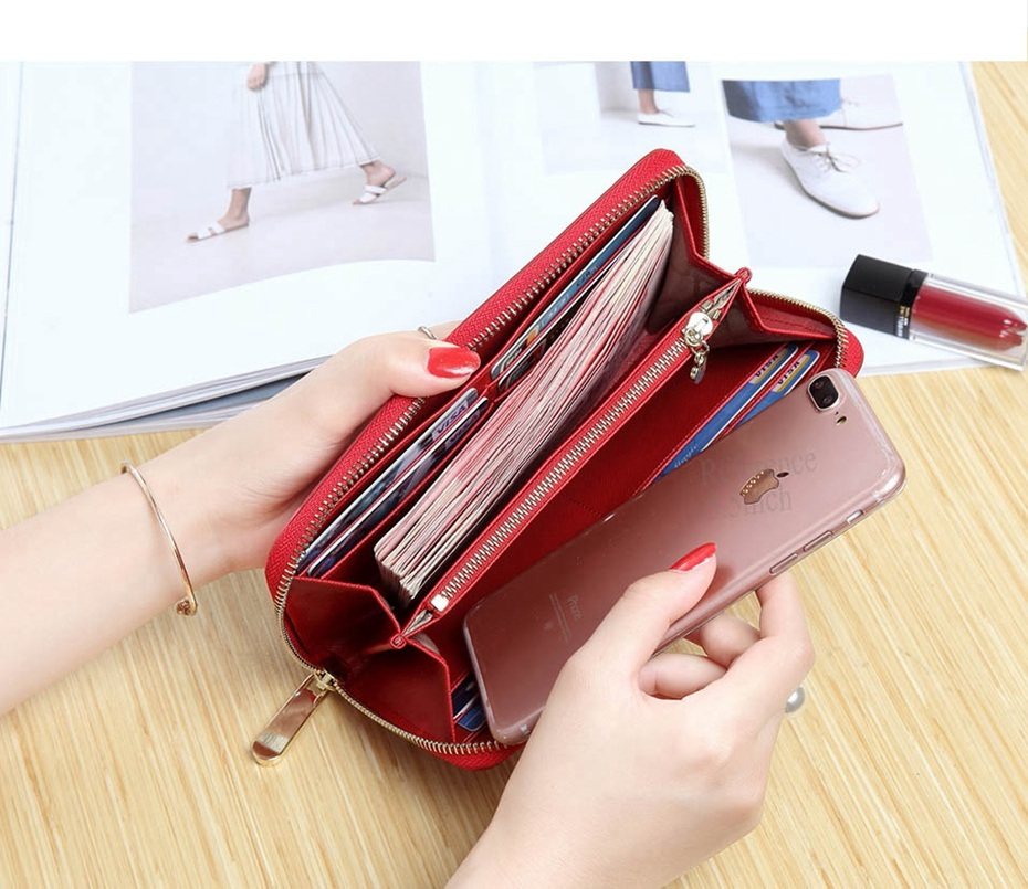 VICKAWEB Big Female Wallet Solid Women Wallets Genuine Leather Zipper Long Purses New Standard Wallets Fashion Ladies Purse 06-VICKAWEB06--012
