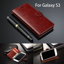 Cover Case For Samsung i9300 GALAXY S3 SIII Ultra Thin Card Holder For Samsung Galaxy S3 Case Wallet Leather Flip Luxury Woman(China)
