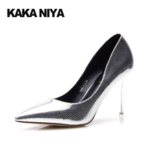 9cm 4 Inch New Ladies Gold Shoes Slip On 2017 High Heels Stiletto Pumps 34 Small Size Luxury Metal Pointed Toe Silver Pumps