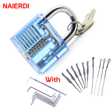 NAIERDI Practice Lock With Broken Key Removing Hooks Lock Kit Locksmith Wrench Row Tension Tool Extractor Set Furniture Hardware(China)