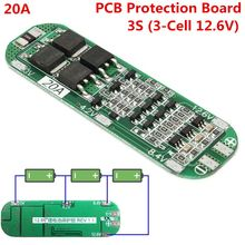 3S 20A 18650 Lithium Battery Protection Board Li-ion Lipo Battery Charger Protection PCB BMS 12.6V For Driving Drill 64x20x3.4mm(China)