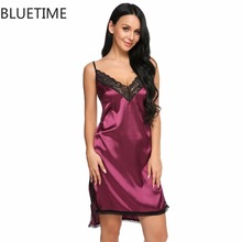 Satin Sleepwear Split Lace Nightgown Silk Nightshirt Nightdress Women Backless Sleepshirt Large Size Nightwear Sexy Nighties XXL(China)