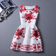Brand Spring Summer Plus Size Dress Women Print Floral Vest Princess Sleeveless Line Party Fashion Dresses Vestidos - Classic Bonito Store store