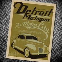Defrait CAR Vintage posters Retro Style High Quality Kraft Paper Poster Antique Decoration Classic wall art sticker painting