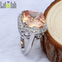 Lateefah Luxury Large Stone Big Wedding Ring for Women Cushion Cut Champagne Cubic Zirconia Filigree Halo Victorian Wieck Rings