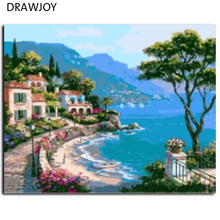 DRAWJOY Framed Picture Painting By Numbers Home Decor DIY Canvas Oil Painting Landscape Mediterranean Sea Pattern 40x50cm