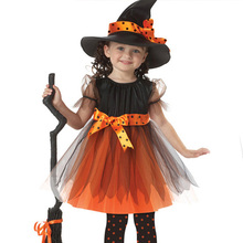 Halloween European and American Clothing Children's Performance Suit dress Cosplay Witch Magic Dance Clothes Dress+Hat