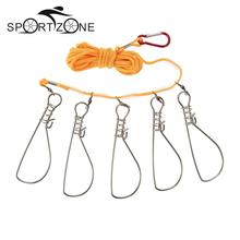 Hot Sale 5 Snaps Steel / Nylon Ropes Float Fish Stringer Fishing Lock Fish Buckle Pesca Accessories China Tackle