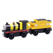2pcs/lot Baby educational vehicle toys Wooden Magnetic Tomas Railway Train head bee James and Yellow passenger car(China)