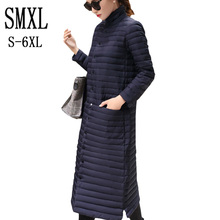 smxl plus size s-6XL Coat Ultra warm white Duck Down Jacket x-Long Female Overcoat Slim Solid Jackets Winter Coats Parkas Padded
