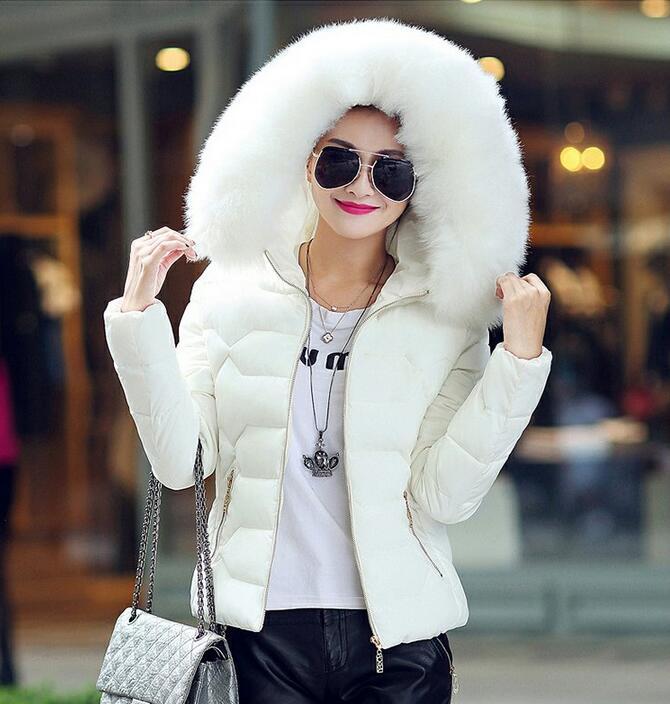 YIZLO winter jacket women  cotton coat women short paragraph Slim Artificial raccoon Fur collar large yards womens cottonÎäåæäà è àêñåññóàðû<br><br>
