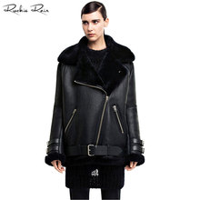 2017 New Women's Lamb fur Bomber Real leather jacket sheepskin Double face Shearling Coat Oversized Genuine Leather jacket(China)