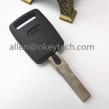 New Replacement Case fits for Audi blank cover hu66 blade For Audi A6 transponder key shell (Dark logo)