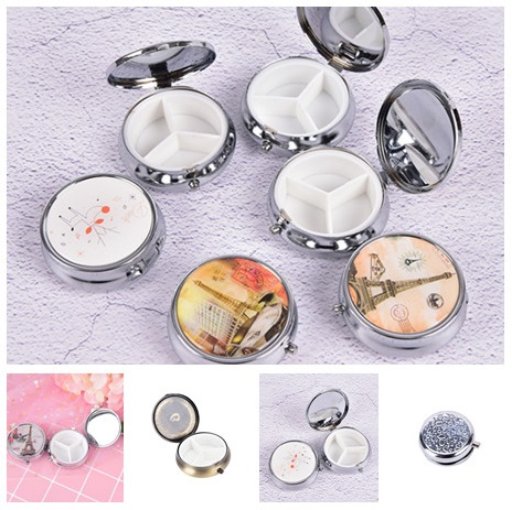 Portable Metal Round Pill Boxes Medicine Organizer Container Pill Cutter Folding Pill Case
