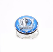 2017 Trendy Basketball Charms Dallas Team Ring Round Glass Dome Rings For Women Girl Adjustable