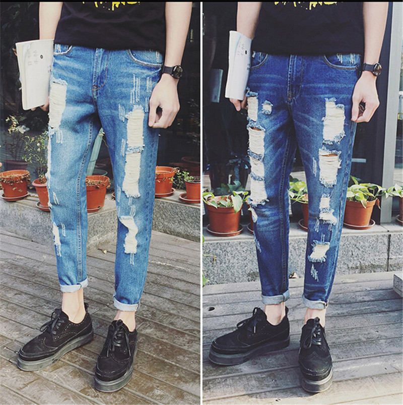 2017 New Mens fashion holes ripped Frayed biker jeans Male casual denim Slim straight hip hop pants Long trousers Size M-XXLОдежда и ак�е��уары<br><br><br>Aliexpress