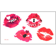 New Waterproof Temporary Tattoo Sticker body art 10.5*6 cm kiss lip print tattoo Water Transfer fake flash tattoos make up(China)