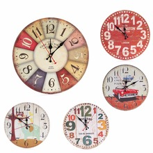 5-Pattern Artistic Modern Number Rustic Round Wooden Wall Clock Home Bedroom Living Room Kitchen Shop Decoration Gift 30cm C42(China)