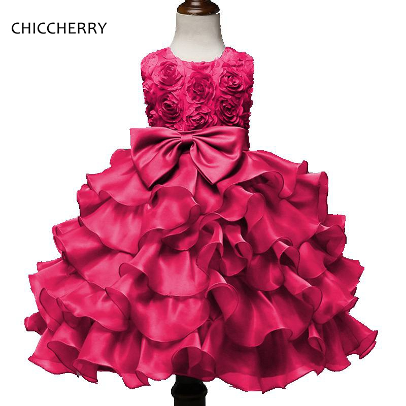 Hot Pink 3D Flower Girls Dresses Party Wedding Clothes Boutique Kids Prom Dresses Summer Children Clothing Bosudhsou