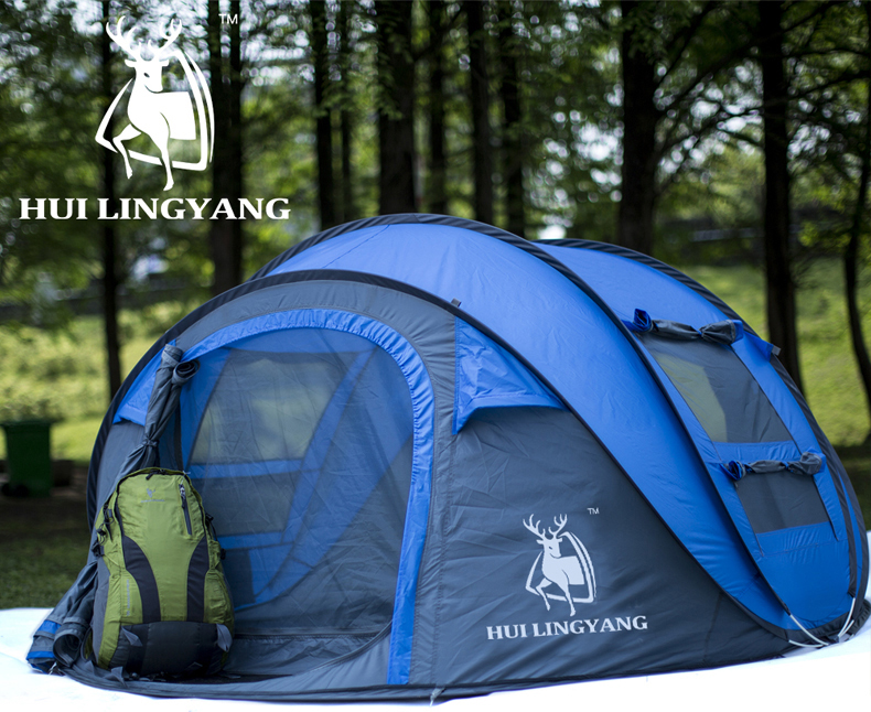 HYL camping pop up tent large 3-4 person windproof (1)