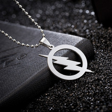 Stainless Steel Strike Dainty Round Power Thunder Lightning Bolt Pendant Necklace Punk Cool Male Movie Jewelry Creative Gift(China)