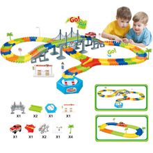 2017 New Racing Track with Car Race Track Bend Flex Electronic Rail Race Car Vehicle Toy Roller Coaster Toys Xmas Gifts for kids(China)