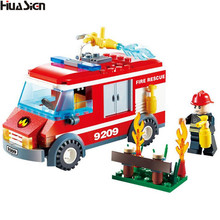 2017 New Educational City Construction Firefighting Truck Building Bricks Kit Emergency Fireman Fire Rescue Figures Blocks Toys(China)