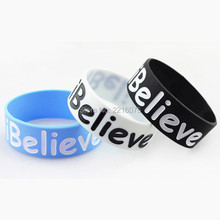 3pcs one inch ibelieve wristband silicone bracelets free shipping(China)