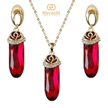 Navachi Water Drop Red Cubic Zircon Crystal Flower Yellow GP Earrings Pendant Necklace Jewelry Set SMT4026(China)
