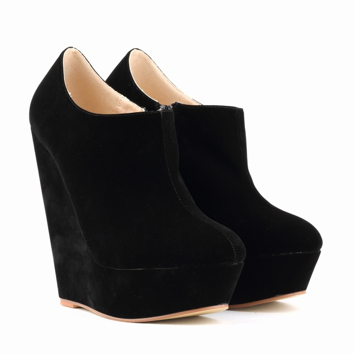 Flock material wedge high-heel shoes women 2015 new autumn winter suede cloth ankle boots  platform 35-42size<br><br>Aliexpress