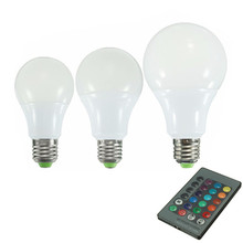 5W/10W/20W E27 LED Bulb Lamps AC85-265V RGB 16 Color Changing LED Globe Light Lamp Bulb With 24 Keys Remote Control