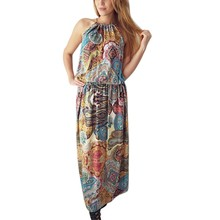 Summer Fashion Sleeveless Hanging neck O-Neck Bohemia Casual Women A-Line Beach Long Dresses Soft Holiday Dress