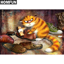 "HOMFUN Full Square/Round Drill 5D DIY Diamond Painting ""Wipe Leather Shoes Cat"" Embroidery Cross Stitch Mosaic Rhinestone Decor(China)"