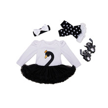 Infant Clothing Sets For Newborn Baby Girl Embroidered Swan Romper Tutu Dress+Headband+Shoes+Leg warmer Birthday Baby Girl 2017