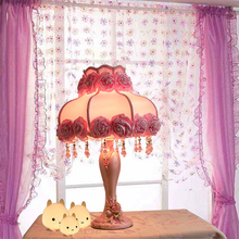 European French pastoral wedding table lamp lace Princess bedroom fabric LED resin decorative table lamp(China)