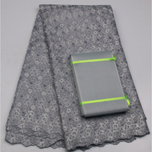 Popular High Quality Fancy Heavy Cotton Lace Fabrics In Grey, Ladies Dresses Aso Oke African Voile Lace MR674B-1(China)